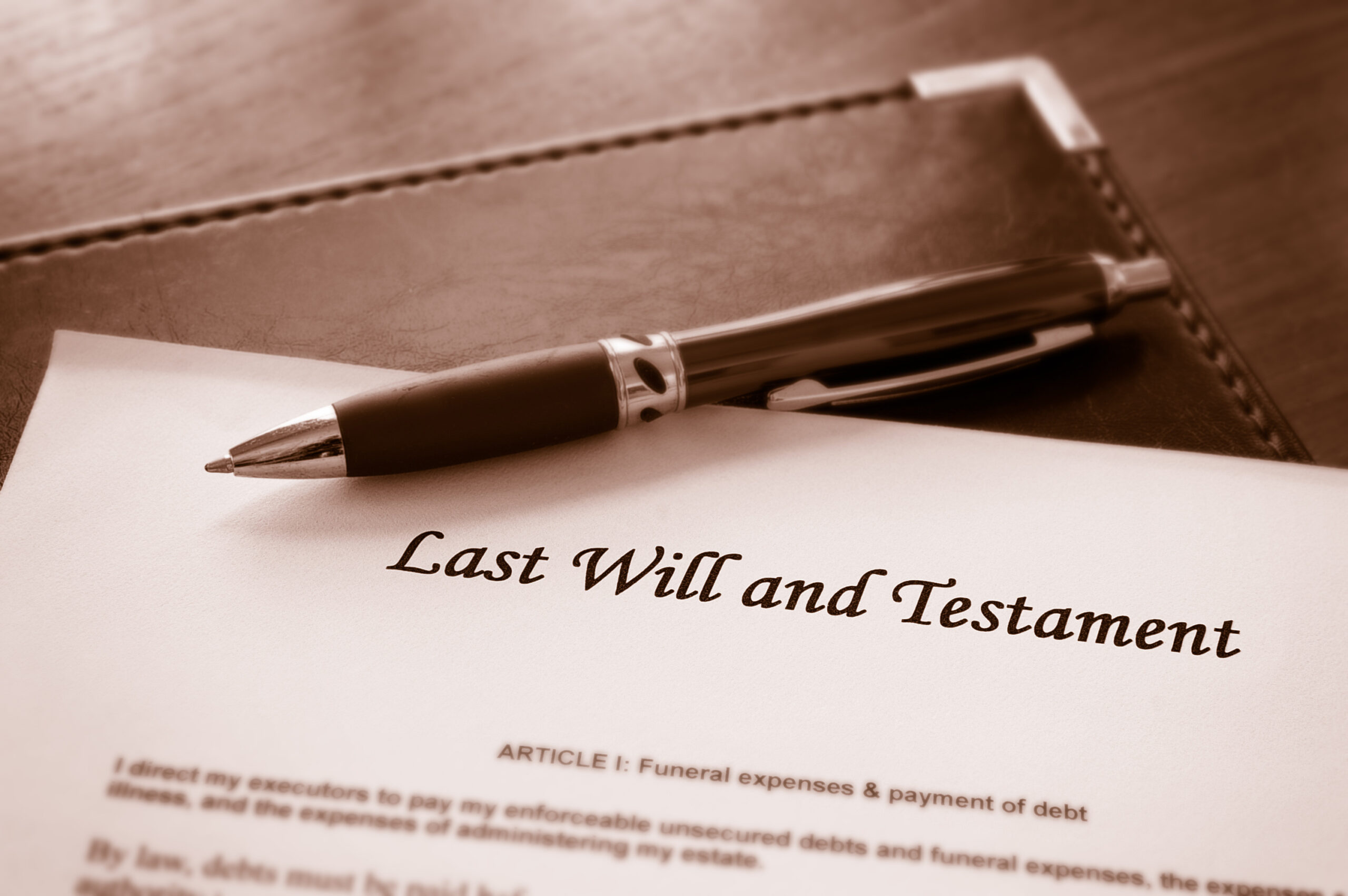 Last Will and testament document with pen